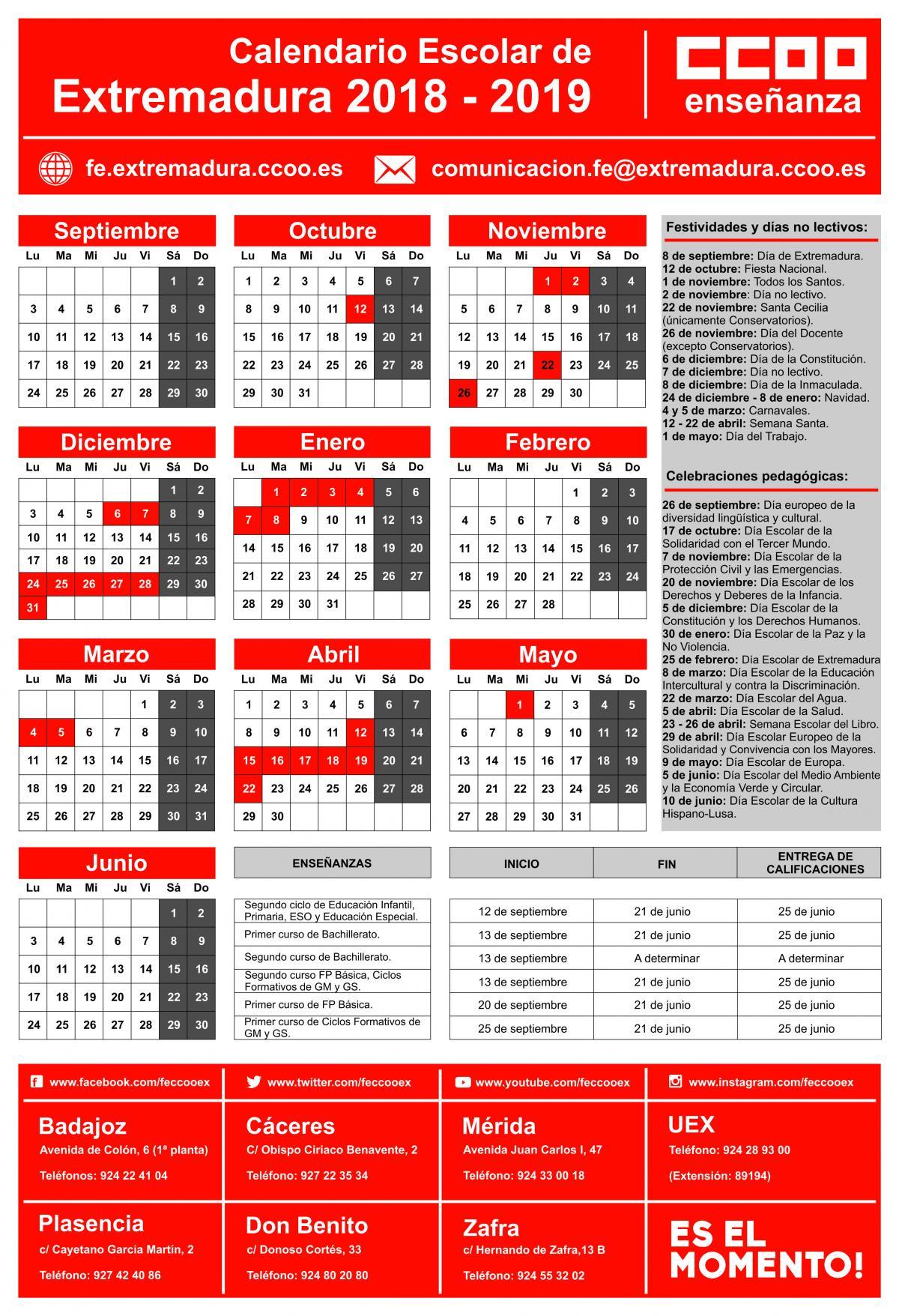 Calendario Laboral 2020 Extremadura.Federacion De Ensenanza De Extremadura Calendario Privada
